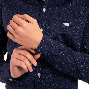 camisa azul con lunares de hombre 100% algodon
