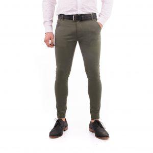 pantaon hombre de vestir corte chino gabardina verde militar