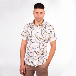camisa de hombre manga corta tramada con cadena, estampada, moda 2019