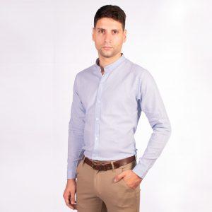camisa cuello mao color celeste liso, material lino, camisa de hombre