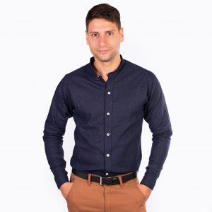 camisa cuello mao color azul oscuro liso, material lino, camisa de hombre
