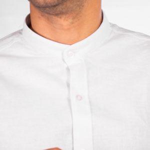 camisa cuello mao color blanco liso, material lino, camisa de hombre
