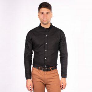 camisa cuello mao color negro liso, material lino, camisa de hombre