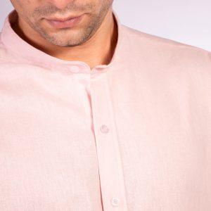 camisa cuello mao color rosa liso, material lino, camisa de hombre